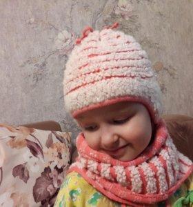 Шапка+шарф зима
