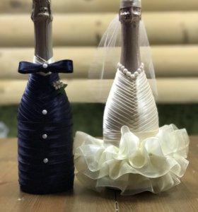Украшенные бутылки на свадьбу