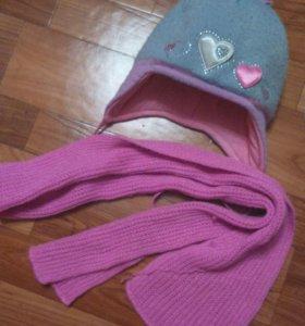 Шапка шарф, зима.