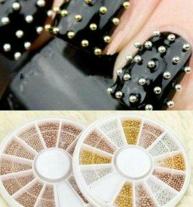 Бульонки для ногтей: золото/серебро/бронза