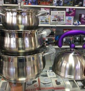 Набор посуды 3 кастрюли и чайник
