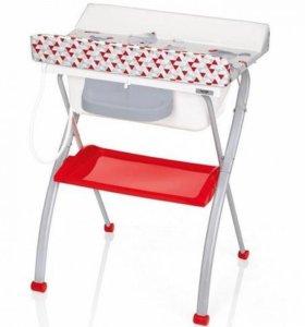 Пеленальный столик с ванной Brevi Flipper красный