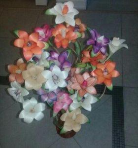 Цветы из бересты. Ручной работы.