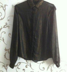 Черная блузки с золотистым глиттером