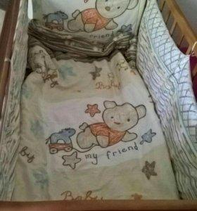 Детская кроватка маятник с матрасом и болдахинои