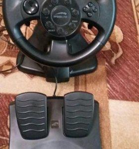Руль игровой с педалями и установочным диском