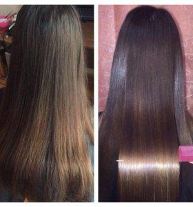 Кератиновое выпрямление волос,полировка волос