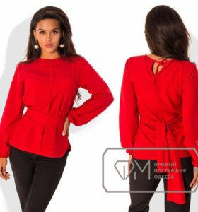 Блузка красная шифоновая с рукавом