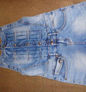 шорты-комбинезон джинсовые, р. 42