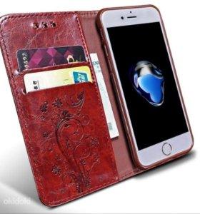 чехол книжка Iphone 5,5s. Цвет красный