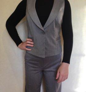 Школьная форма, серый костюм, жилетка с брюками