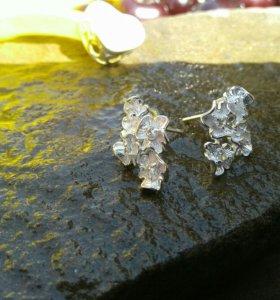 Серьги серебро 925°,камни сваровски.Люкс качество