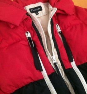Куртка мешок красно-чёрная L женская