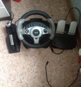 Игровой руль с педалями и ручником