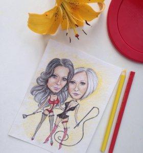 открытка портрет шарж