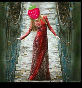 Вечернее платье красное (гипюр)