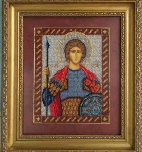 Икона вышитая Святой Георгий
