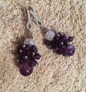 Серьги грозди фиолетовые из аметиста