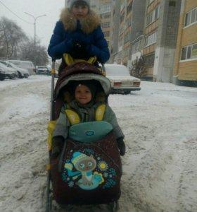 Санки коляска с выдвижными колесами