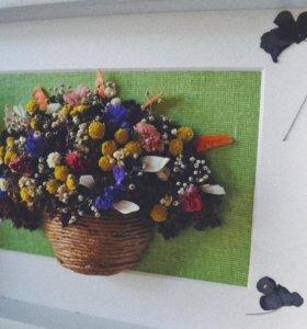 Подарки из цветов,экибана из сухоцветов