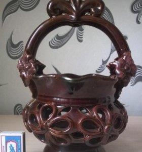 Вазочка - корзинка керамическая