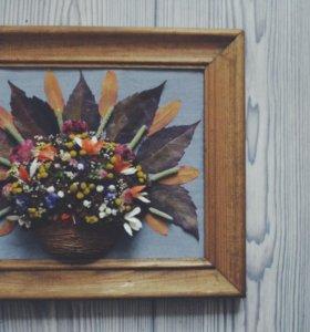 Подарки из цветов,экибана,сухоцветы