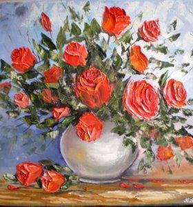 """Картина маслом """"Букет из красных роз."""""""