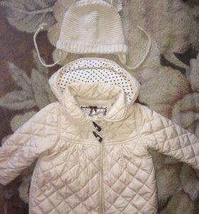 Шапка ZARA и куртка mothercare 80см