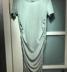 Длинное мятно-серое платье Selected Femme