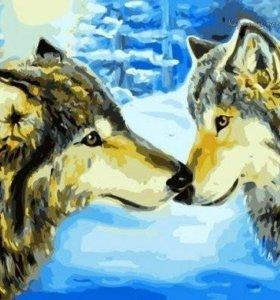 Картинка по номерам. Волки