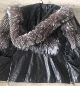 Кожаная жилетка мех чернобурки