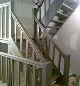 Лестницы из маccива дерева и бетона