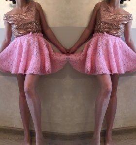 Юбка мини розовая новая