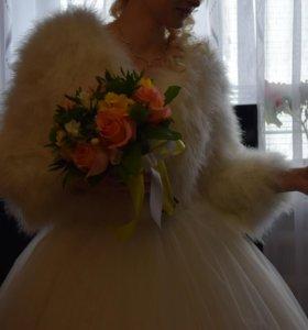 шубка-накидка из страуса свадебная