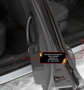 Наклад на пороги дверей В2 Renault Duster 15-