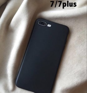 матовый чёрный чехол для IPhone 7 plus