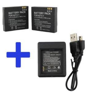 2 аккумулятора + зарядное устройство для Xiaomi Yi