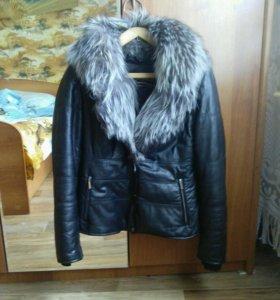 Курточка кожа натуральная, мех чернобурка
