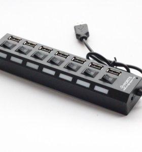 USB Hub 7 портов с выключателями и подсветкой+сеть