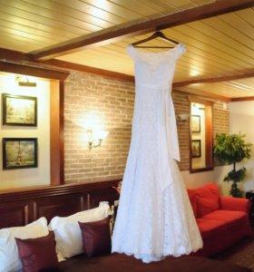 Счастливое свадебное платье+рушник в подарок!