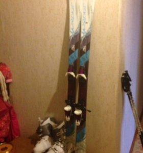 Лыжи горные + ботинки Италия женские 37,5 размер