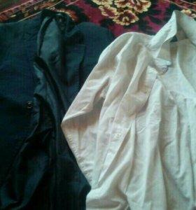 Школьный пиджак с рубашкой б/ у