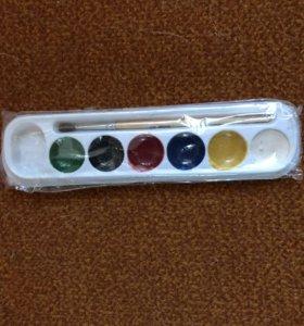 Новая акварель с кисточкой 6 цветов