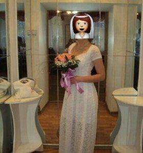 Белое платье в пол размер 44
