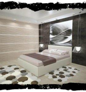 Кровать новая из эко кожи с матрасом роза