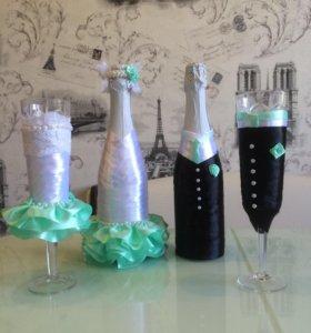 Свадебные бокалы, букеты невест на заказ