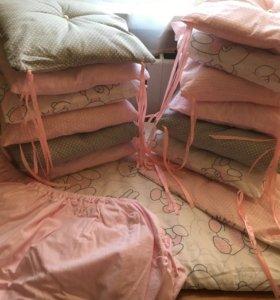 Бортики+одеяльце+простынь на резинке