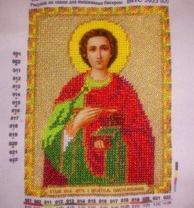 Св. Пантелеймон целитель, вышивка бисером