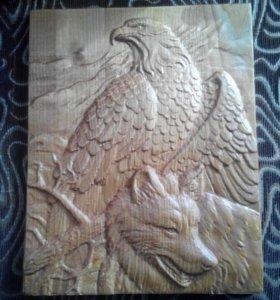 пано из дерева-Орёл и Волк