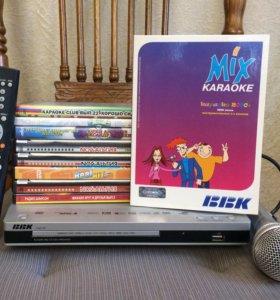 BBK DV813X+пульт+микрофон BBK+диски караоке